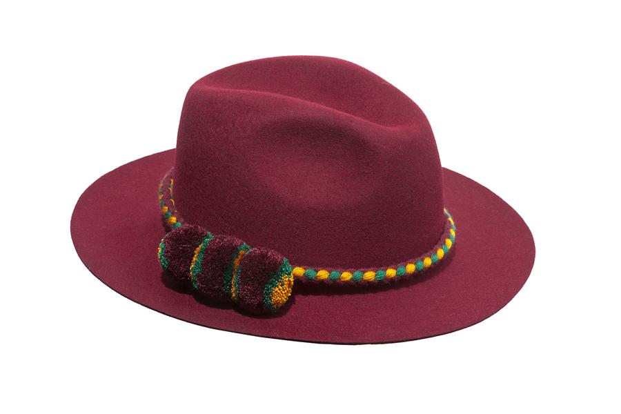 322c9a428a318 Colombiano Fedora felt hat burgundy burgundy - Leontine Vintage