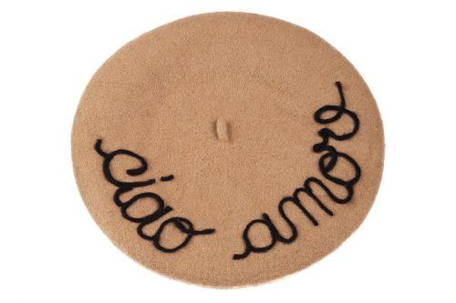 basco cammello con scritta ciao amore