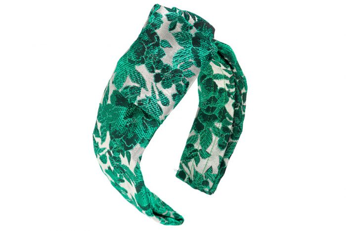 Cerchietto Nodo in lurex verde e argento a fiori