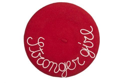 mantrabasco beret stronger girl rosso