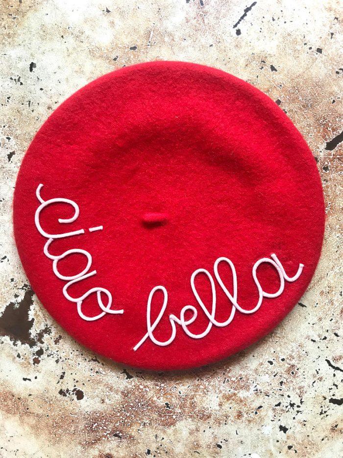 mantra basco leontine vintage rosso con scritta ciao bella