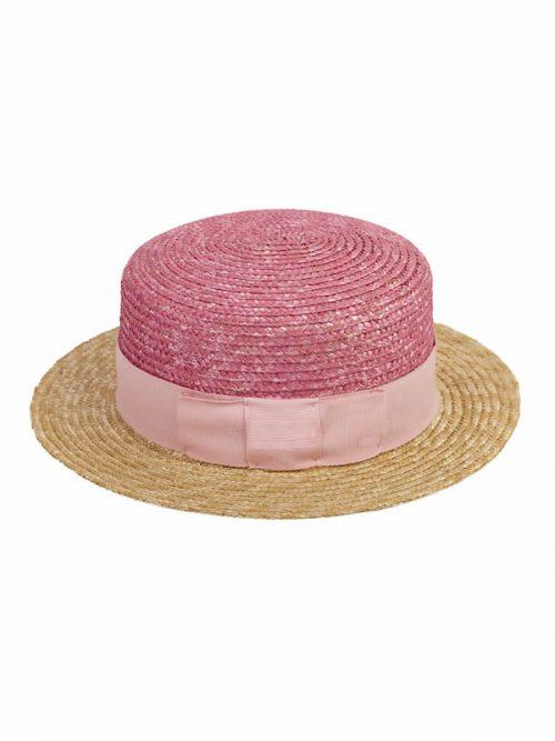 Canotier in paglia fiorentina rosa con nastro rosa