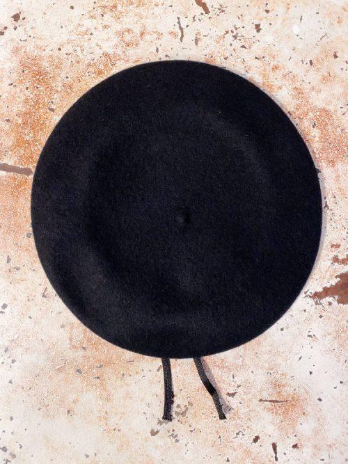 basco lana nero con bordo ecopelle