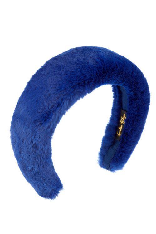 cerchietto bombato eco pelliccia blu