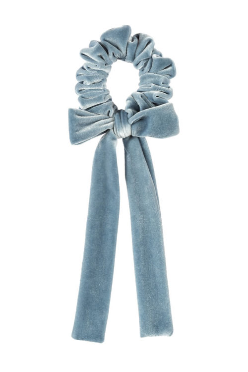 fiocco per capelli in velluto colore azzurro