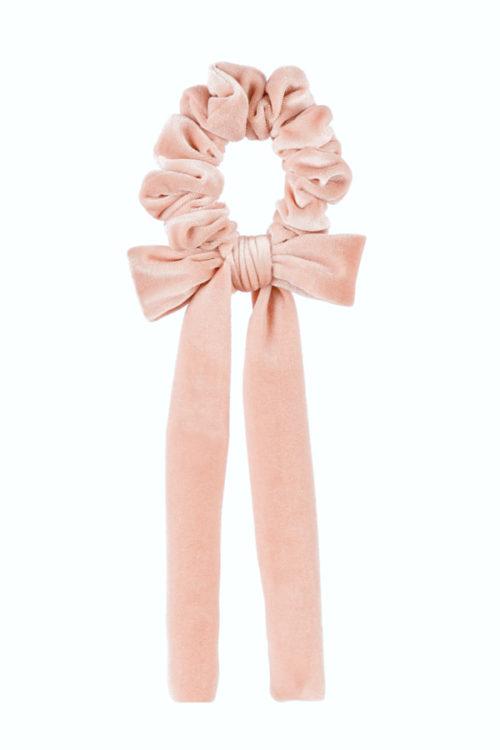 fiocco per capelli velluto rosa baby