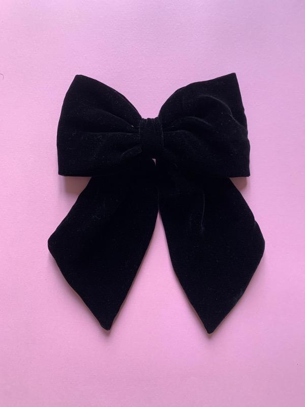 Big bow clip velluto nero
