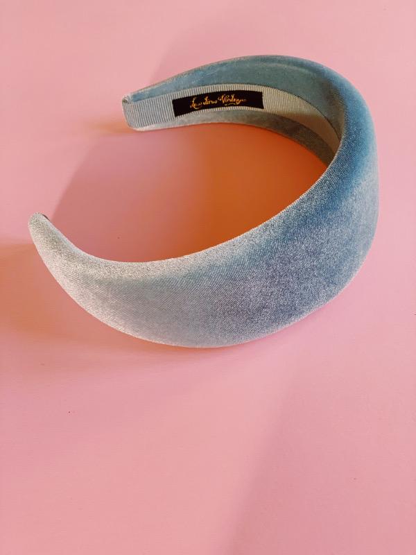 cerchietto largo velluto azzurro