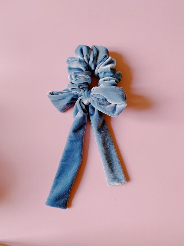 scrunchy light blue velvet
