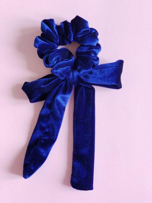 scrunchy velluto blu royal