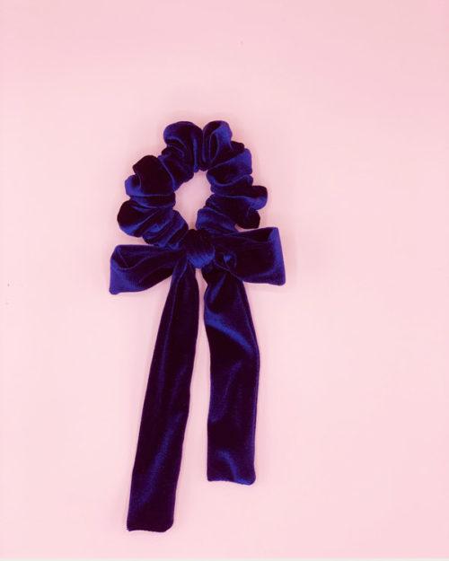 scrunchie  con fiocco in velluto blu notte