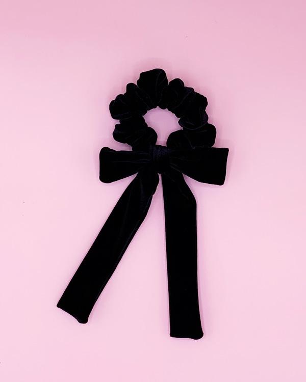scunchie con fiocco in velluto nero