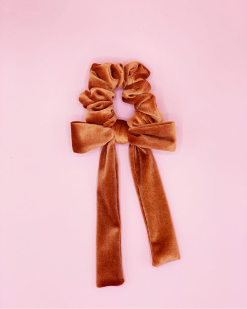 Bow scrunchie, copper velvet
