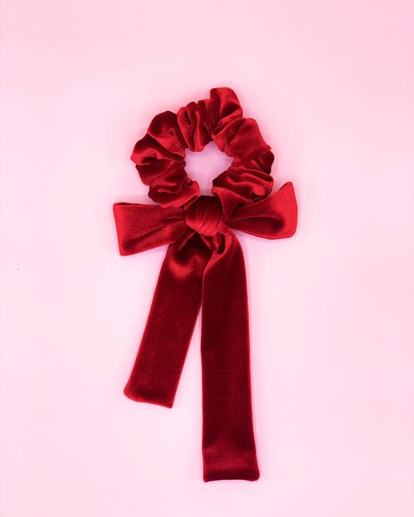 Scrunchie con fiocco in velluto rosso