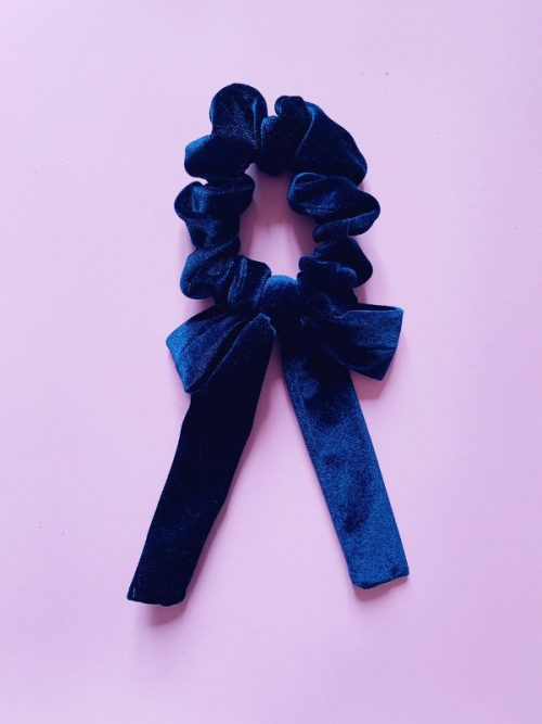 scrunchy velvet night blue