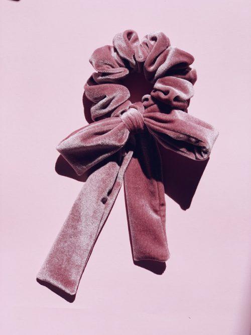 pink velvet scrunchy