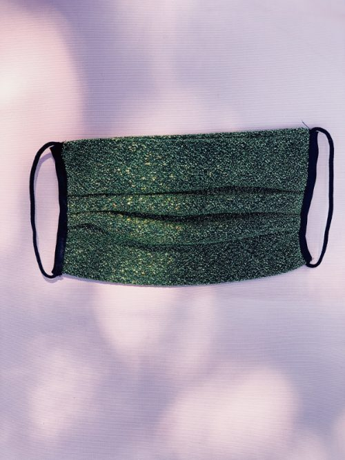 Green lurex mask by Leontine Vintage