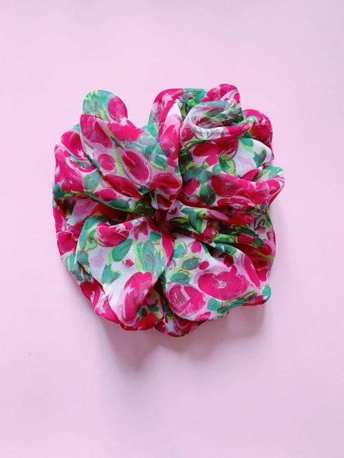 scrunchy oversize floral - leontine vintage