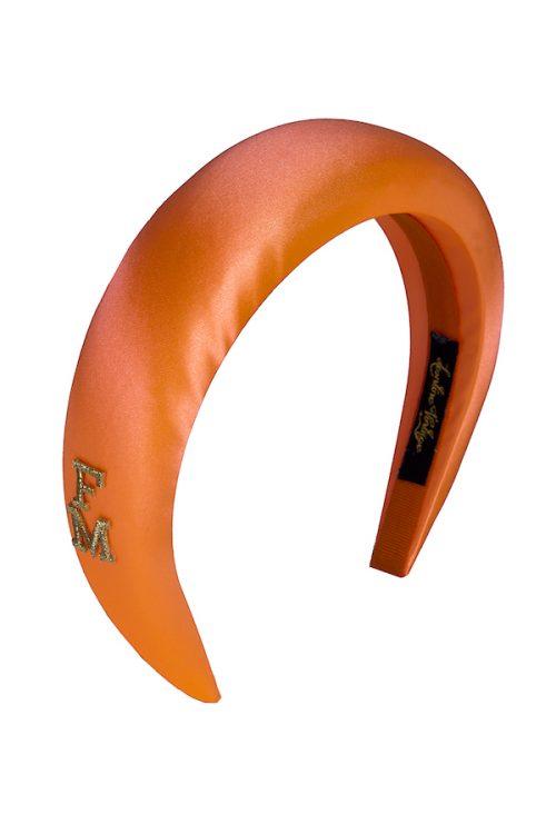 cerchietto bombato raso arancione fluo monogrammabile