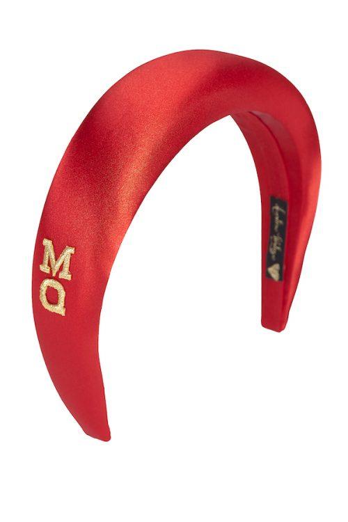 cerchietto raso rosso monogrammabile