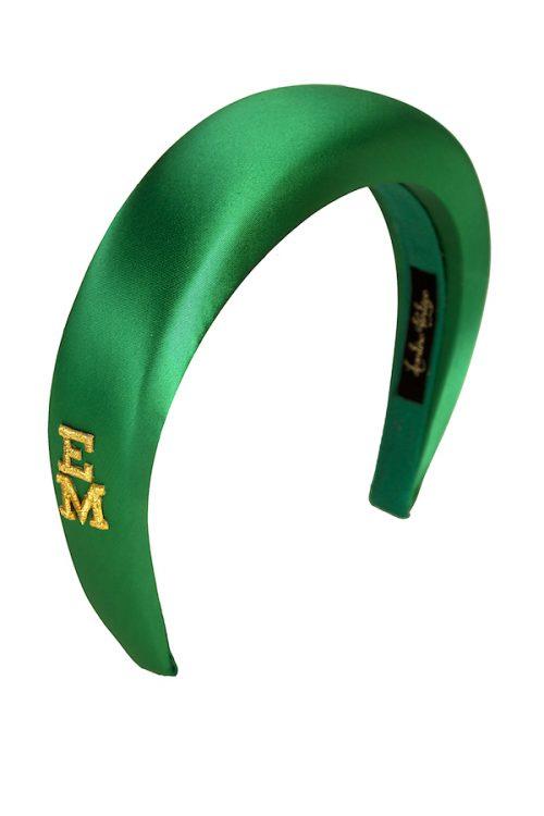 cerchietto verde raso personalizzato