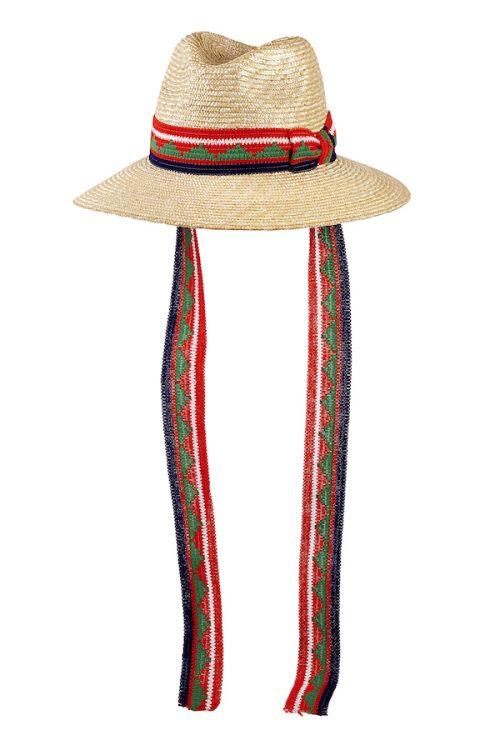 Florentine straw hat with vintage, red/green trimmings