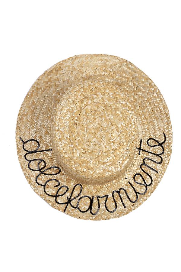 mantra paglietta con scritta in pallettes dolcefarniente