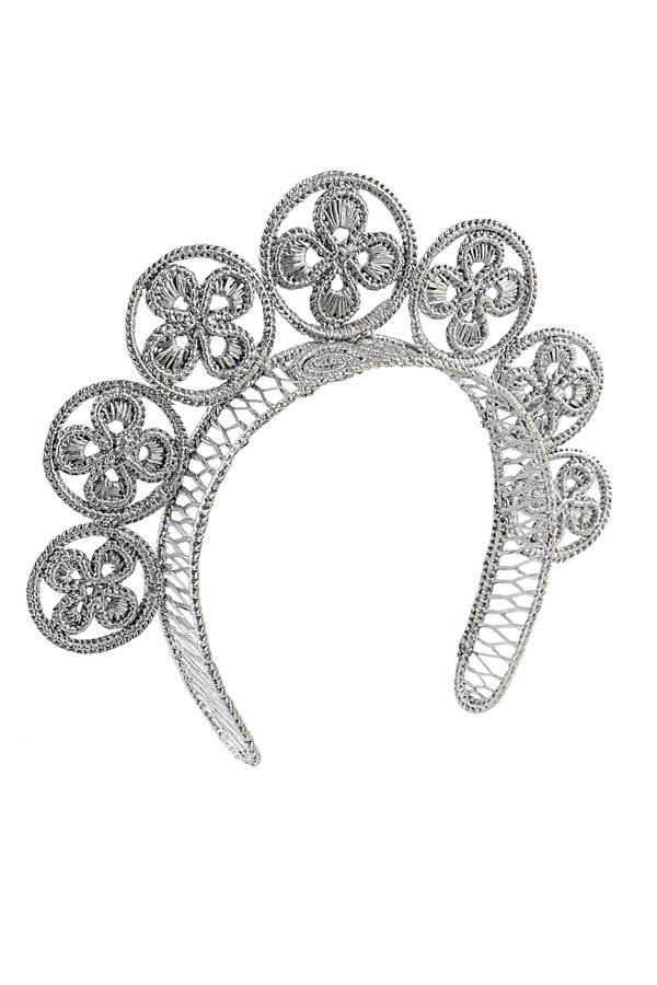 Tiara headband Flowers silver - Leontine Vintage