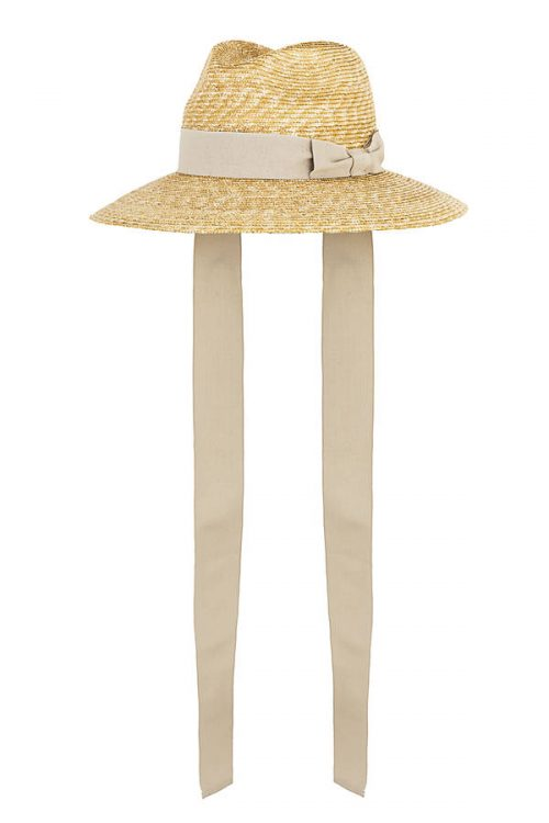 Cruise Florentine straw hat with sand grosgrain ribbon