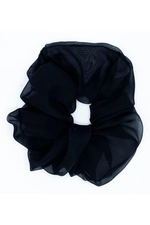 Oversized organza scrunchy, black