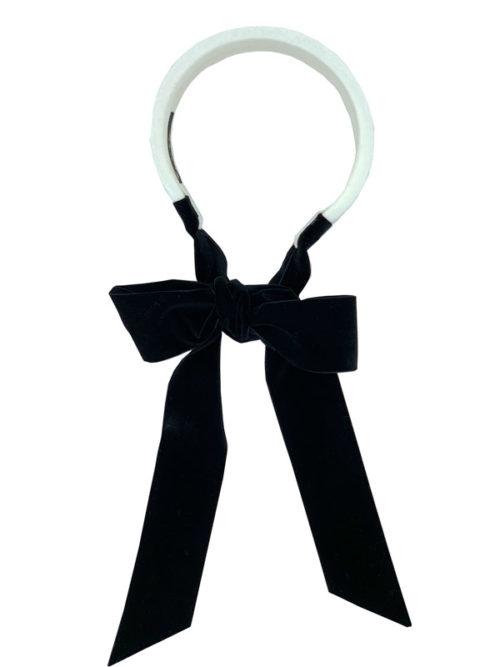 Flat white velvet headband with ribbons