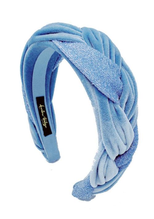 cerchietto treccia lurex azzurro