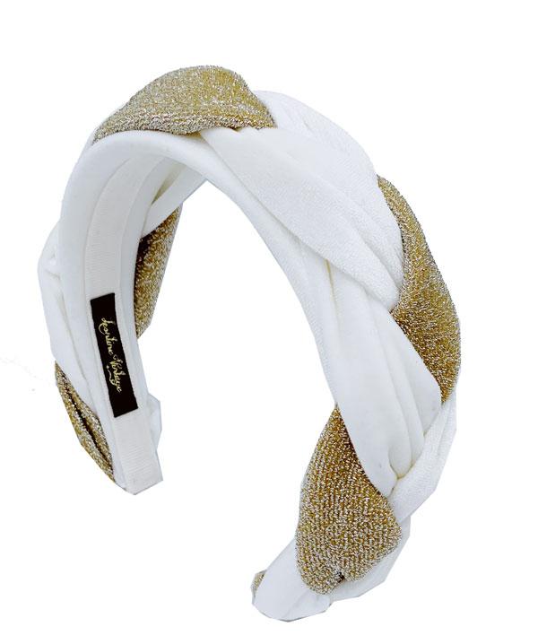 cerchietto treccia lurex velluto colore bianco
