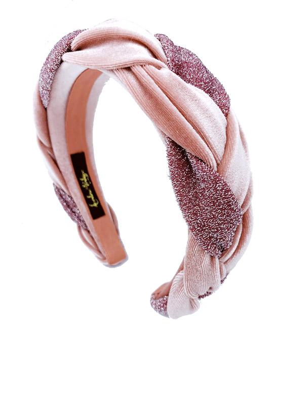 cerchietto treccia lurex rosa