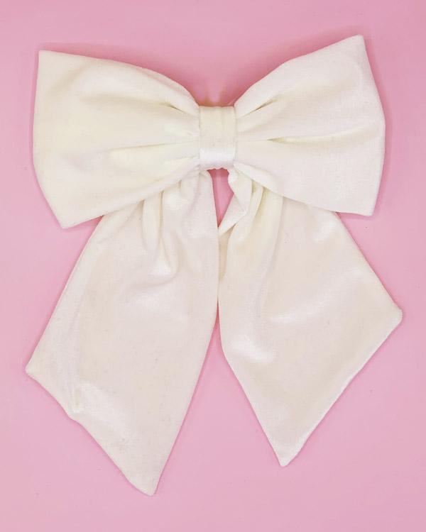 big bow clip velluto panna
