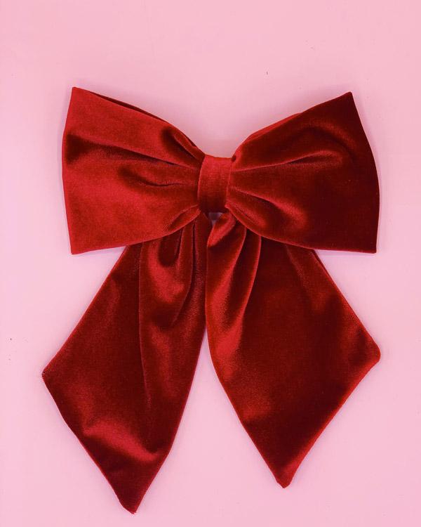 big bow clip velluto rosso