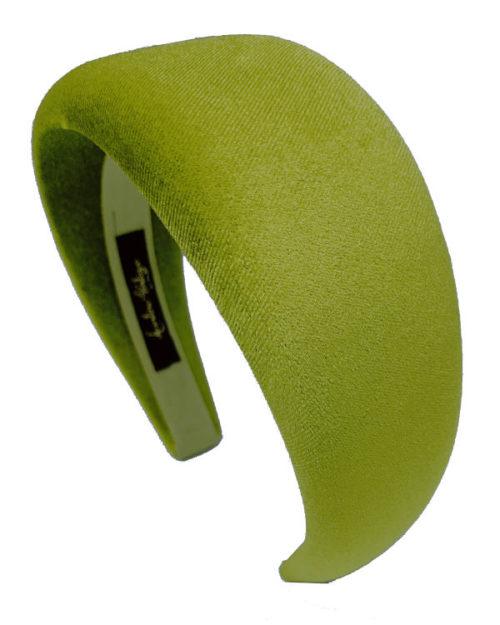 cerchietto piatto velluto verde acido - Leontine Vintage