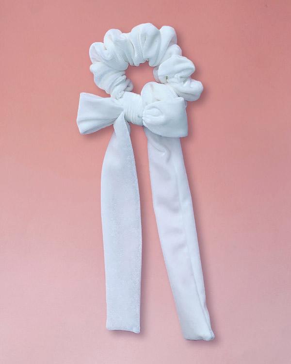 elastico per capelli in velluto con fiocco colore bianco