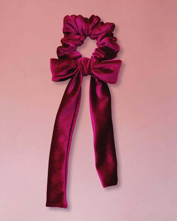 elastico per capelli con fiocco in velluto colore bordeaux