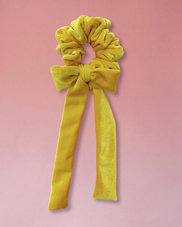 Elsatico per capelli in velluto con fiocco colore giallo sole