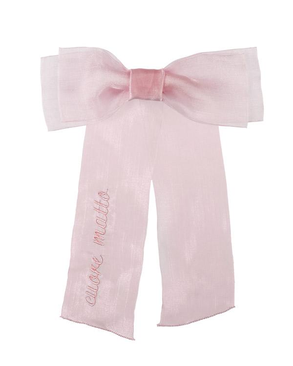 Fiocco in chiffon rosa con scritta cuore matto