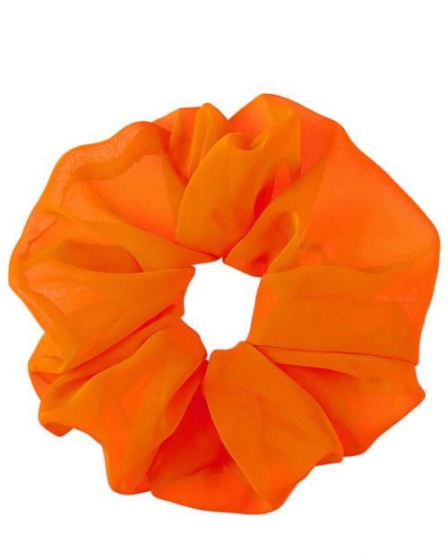 scrunchie oversize arancione fluo in chiffon