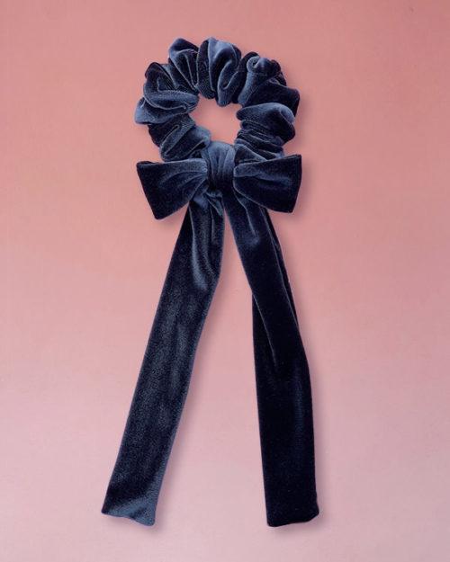 elastico per capelli in velluto grigio scuro