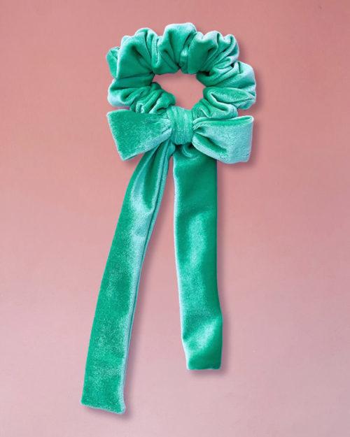 elastico per capelli di velluto con fiocco colore verde menta