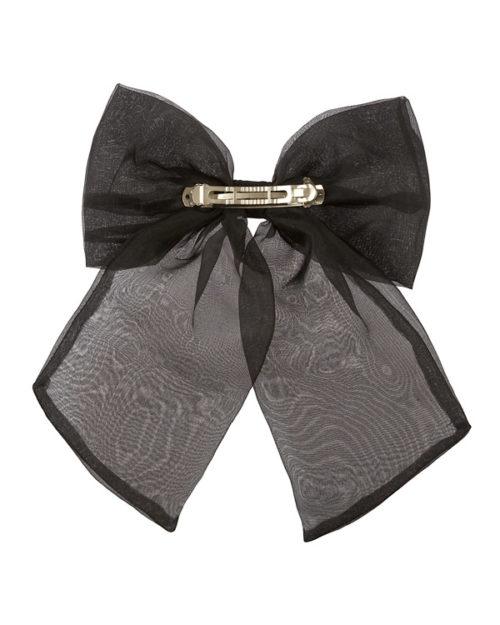 Retro di fiocco oversize nero in chiffon con clip