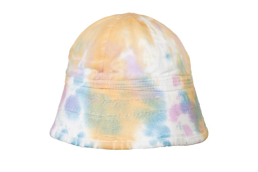 cappello bucket hat fantasia tie dye bianco arancio azzurro
