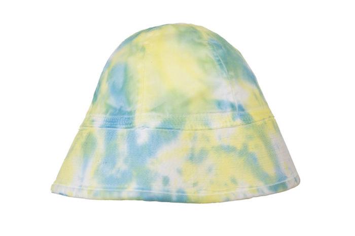 cappello bucket hat fantasia tie dye giallo azzurro