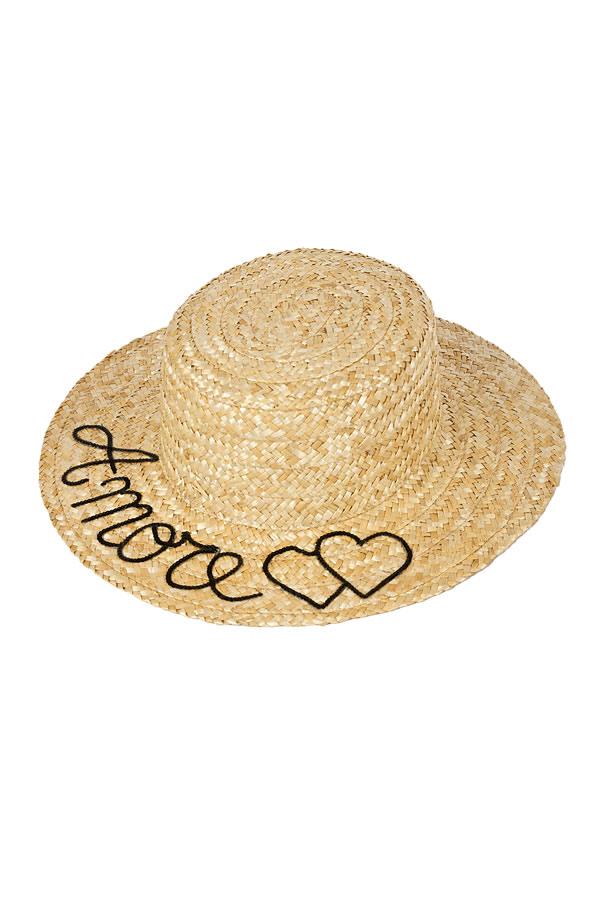 cappello di paglia con scritta amore
