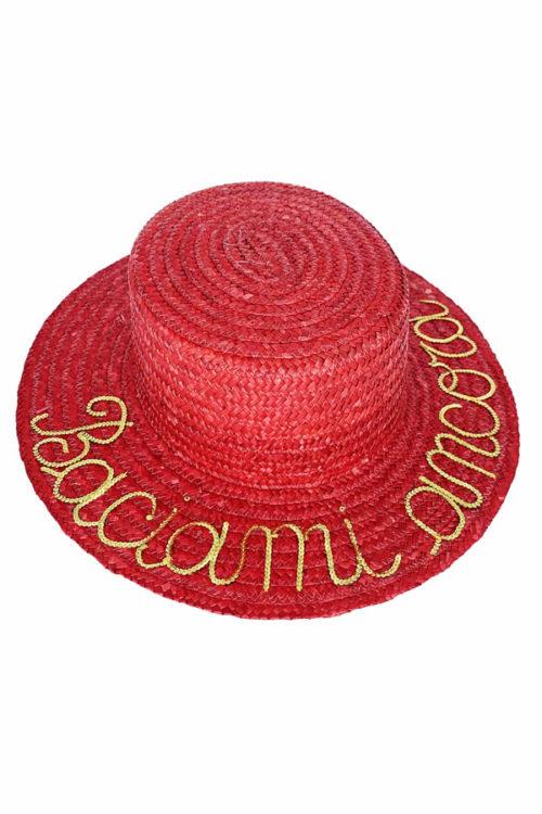 cappello di paglia con scritta baciami ancora