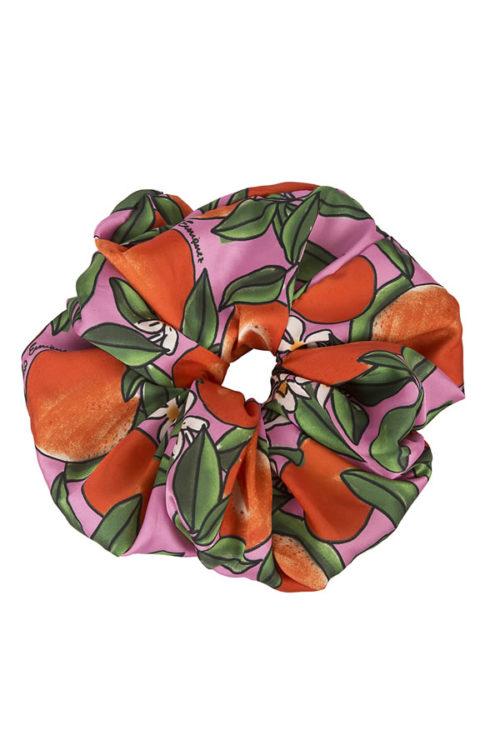 scrunchy oversize fantasia mandarini rosa